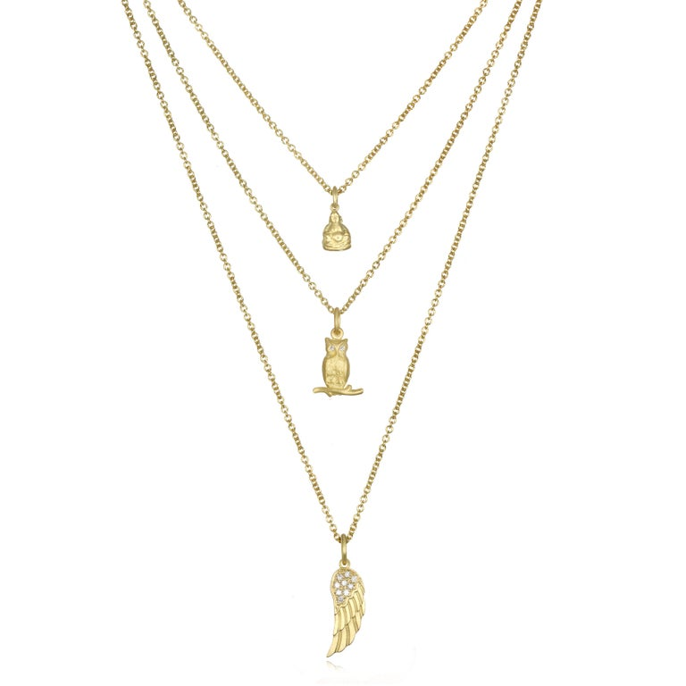 Faye Kim 18 Karat Gold Owl Charm Necklace with Diamond Eyes In New Condition For Sale In Westport, CT