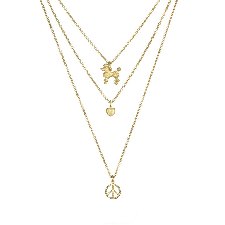 Contemporary Faye Kim 18 Karat Gold Poodle Charm Necklace with Diamond Eyes For Sale