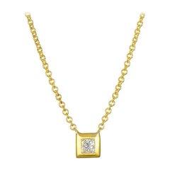 Faye Kim 18k Gold Princess-Cut Diamond Necklace