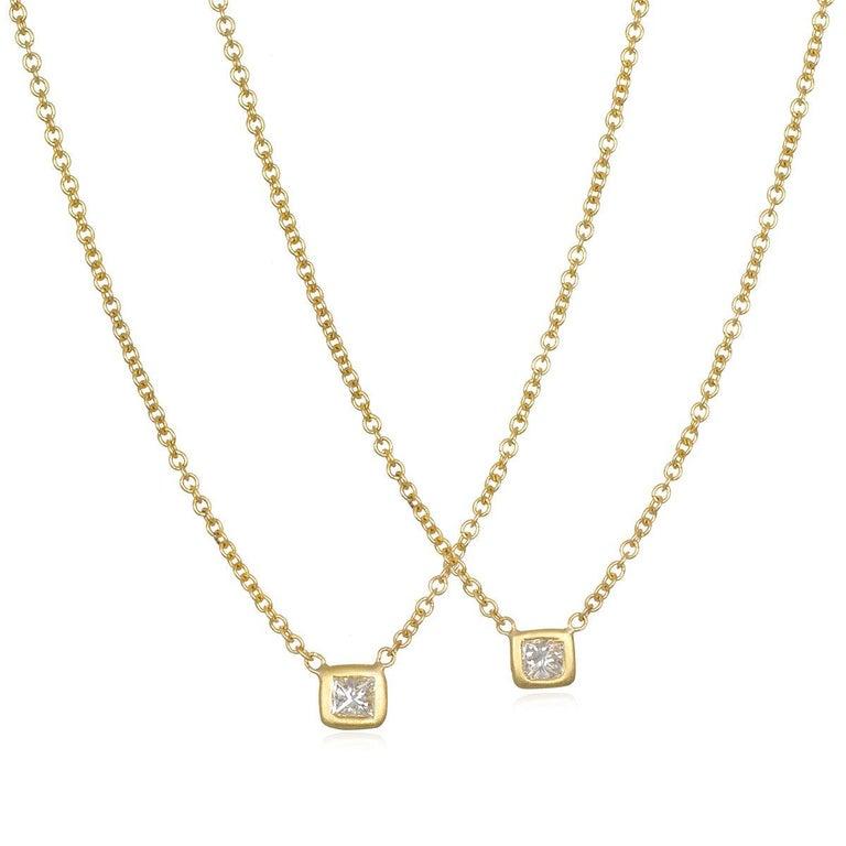 Contemporary Faye Kim 18 Karat Gold Princess Cut Diamond Solitaire Necklace For Sale