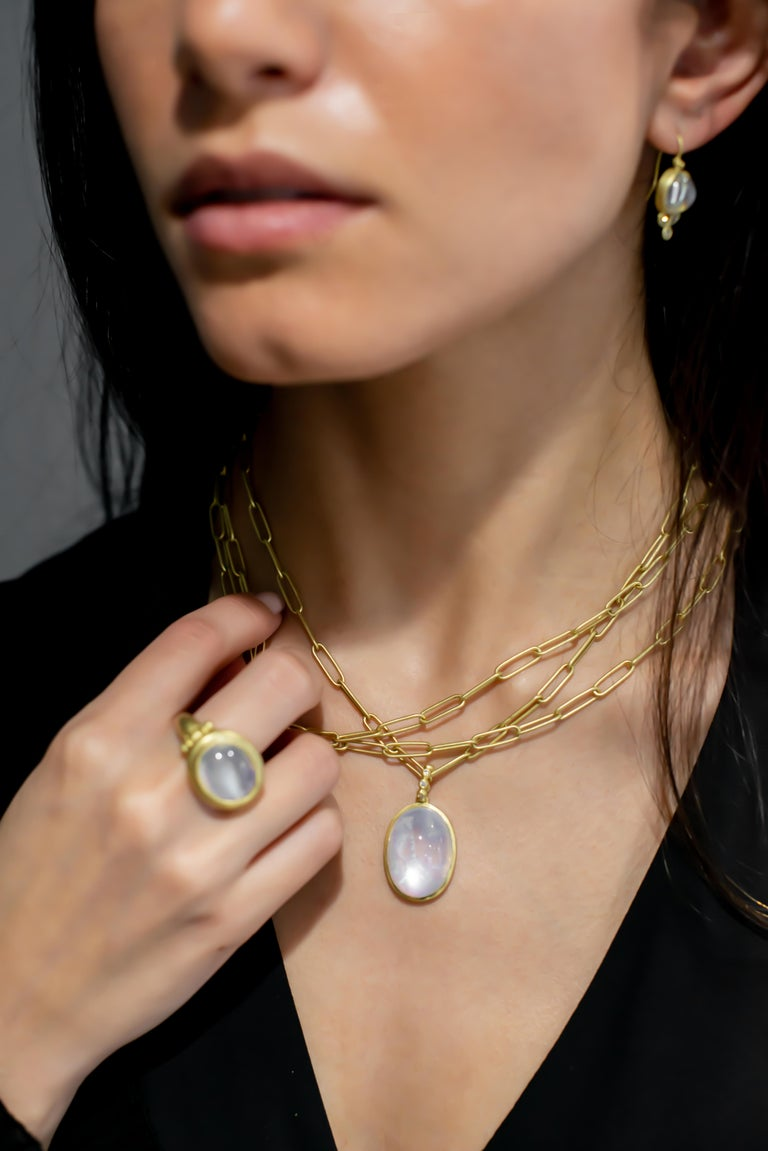Oval Cut Faye Kim 18 Karat Gold Rainbow Moonstone Pendant Necklace with Diamonds For Sale