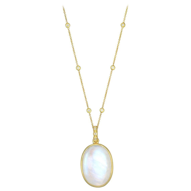 Faye Kim 18 Karat Gold Rainbow Moonstone Pendant Necklace with Diamonds