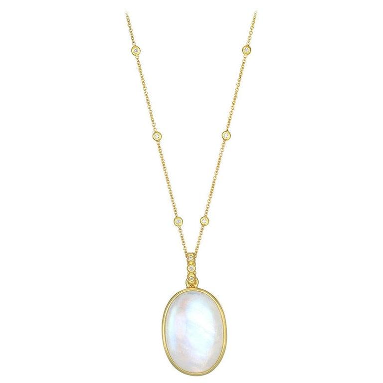 Faye Kim 18 Karat Gold Rainbow Moonstone Pendant Necklace with Diamonds For Sale
