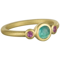 Faye Kim 18 Karat Gold Paraiba Tourmaline and Pink Tourmaline Stack Ring