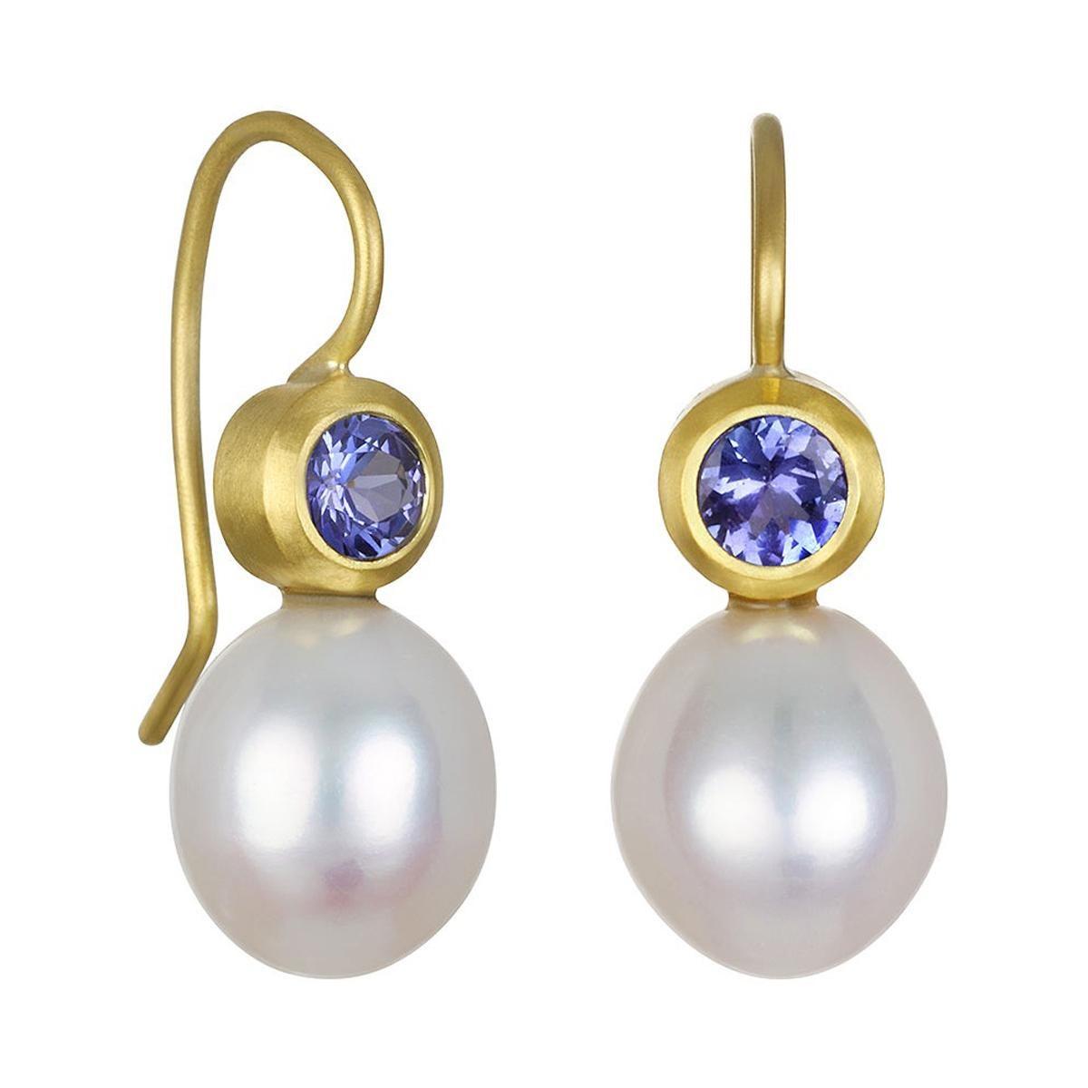 Faye Kim 18k Gold Tanzanite and Pearl Earrings