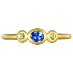 Faye Kim 18 Karat Gold Three-Stone Blue Green Sapphire Stack Ring