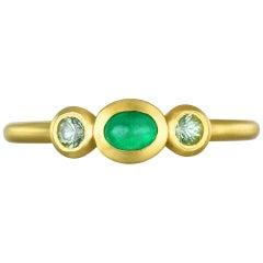 Faye Kim 18 Karat Gold Three-Stone Emerald and Peridot Stack Ring