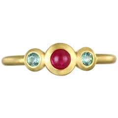 Faye Kim 18 Karat Gold Three-Stone Ruby and Tourmaline Stack Ring