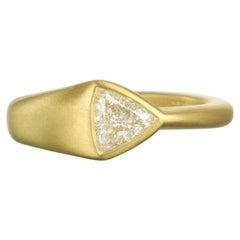 Faye Kim GIA Certified 18 Karat Gold Trillion Cut Diamond Ring