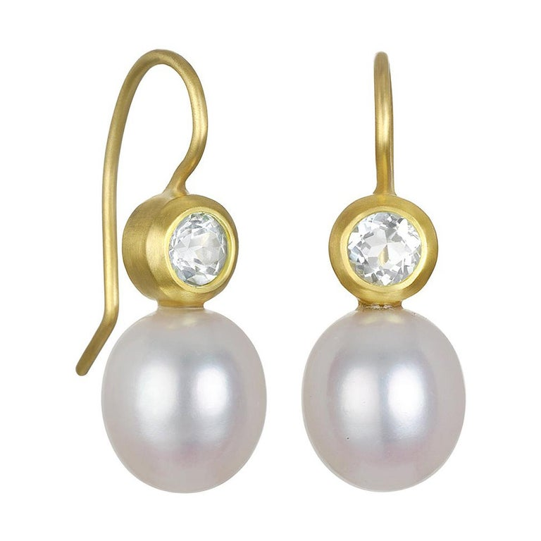 Faye Kim 18k Gold White Sapphire and Freshwater Pearl Earrings For Sale