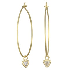 Faye Kim 18 Karat Gold Wire Hoops with Trillion Diamond Drops