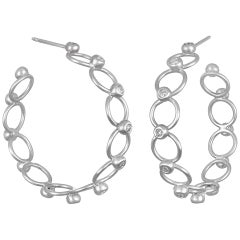 Faye Kim 18 Karat White Gold Diamond Lace Hoops