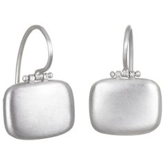 Faye Kim 18 Karat White Gold Hinged Chiclet Earrings