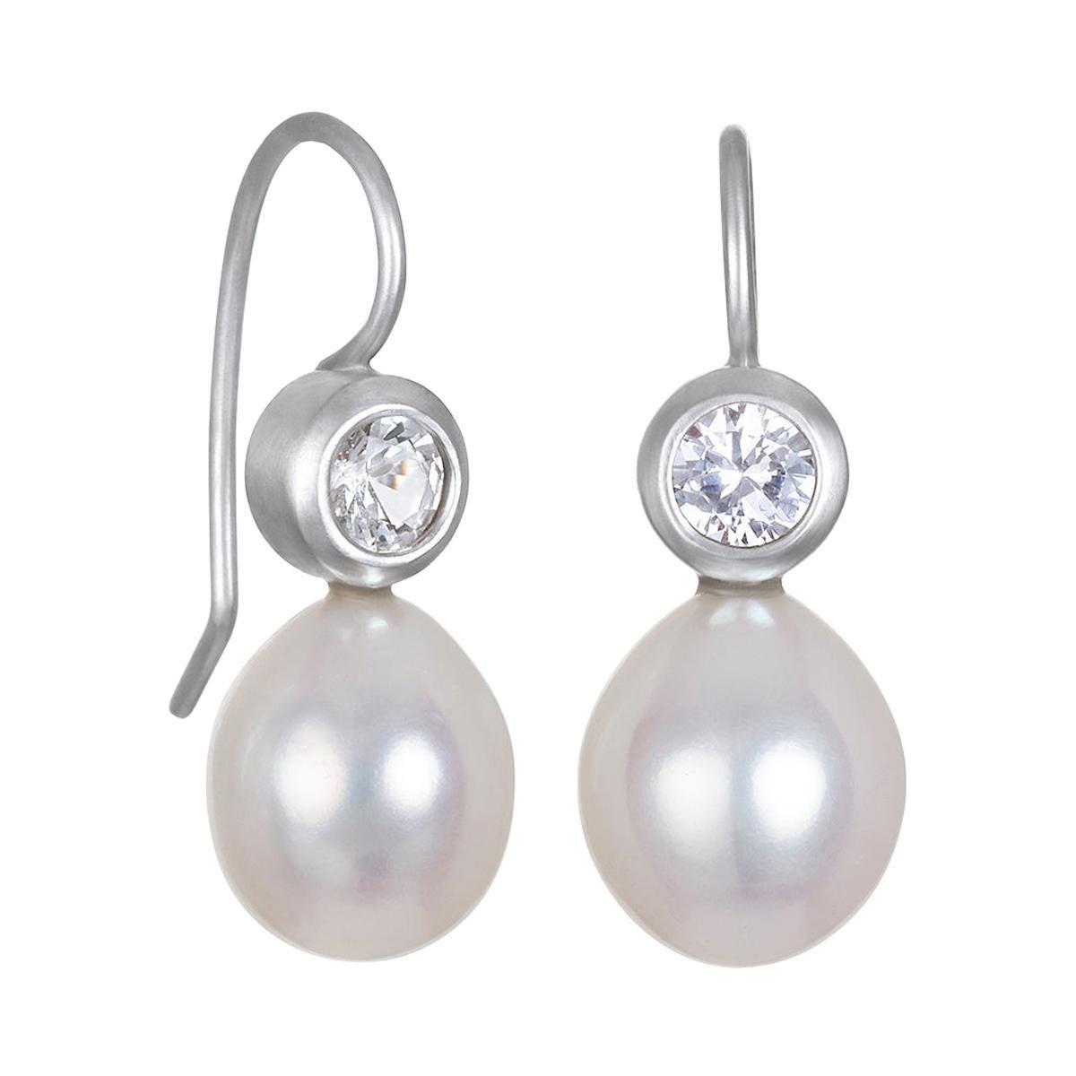 Faye Kim 18k White Gold White Sapphire Pearl Earrings