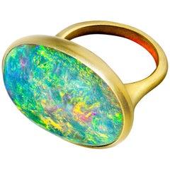 Faye Kim 28.80 Carat Australian Opal 18 Karat Gold Ring