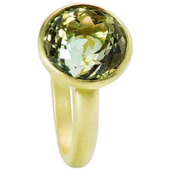 Faye Kim 8.07 Carat Round Portuguese Cut Green Tourmaline Ring in 18 Karat Gold