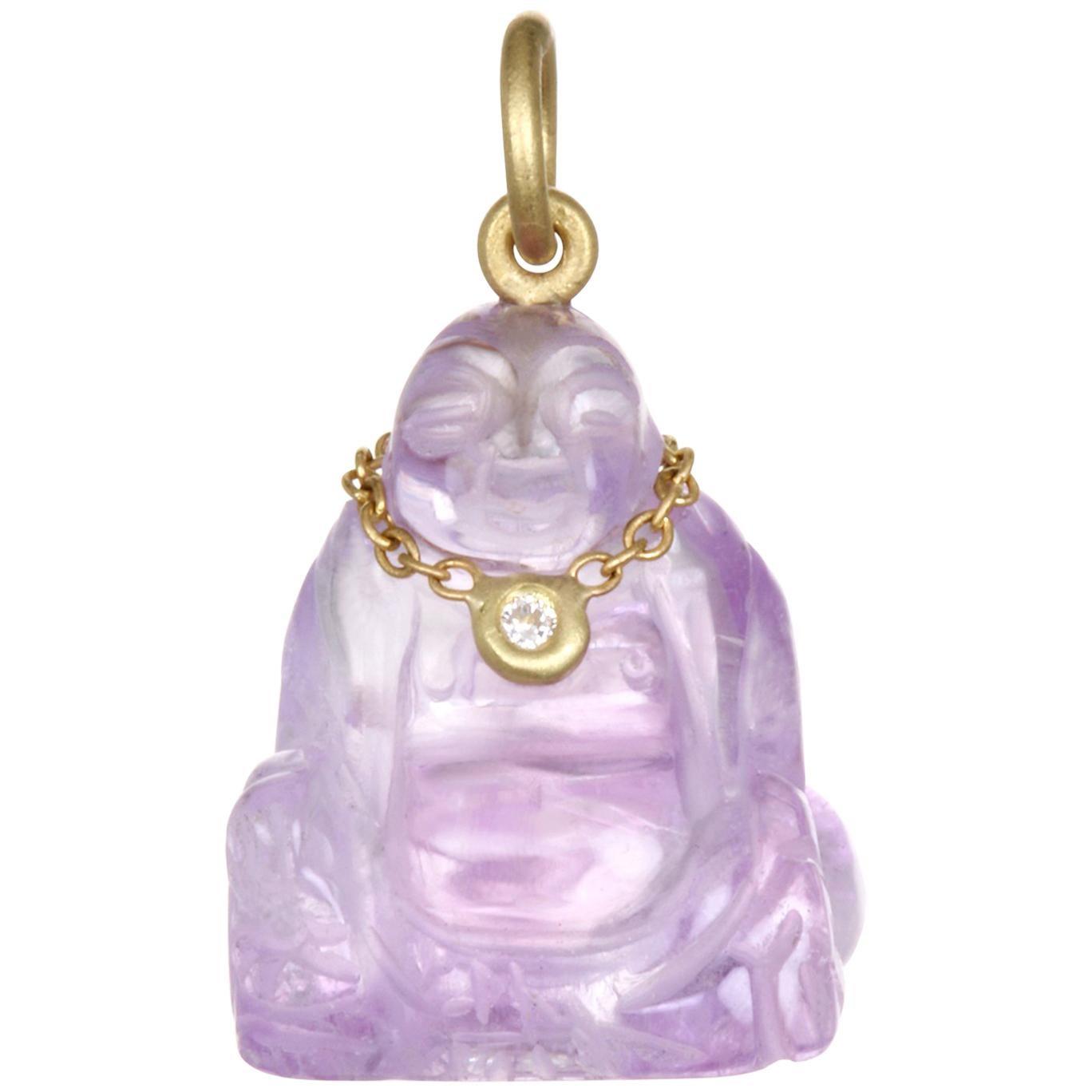 Faye Kim 18k Gold, Diamond, and Amethyst Buddha Necklace