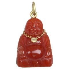 Faye Kim Carnelian Diamond Buddha Pendant