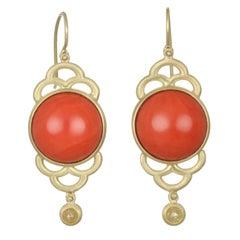 Faye Kim 18k Gold Red Coral and Raw Diamond Scallop Drop Earrings