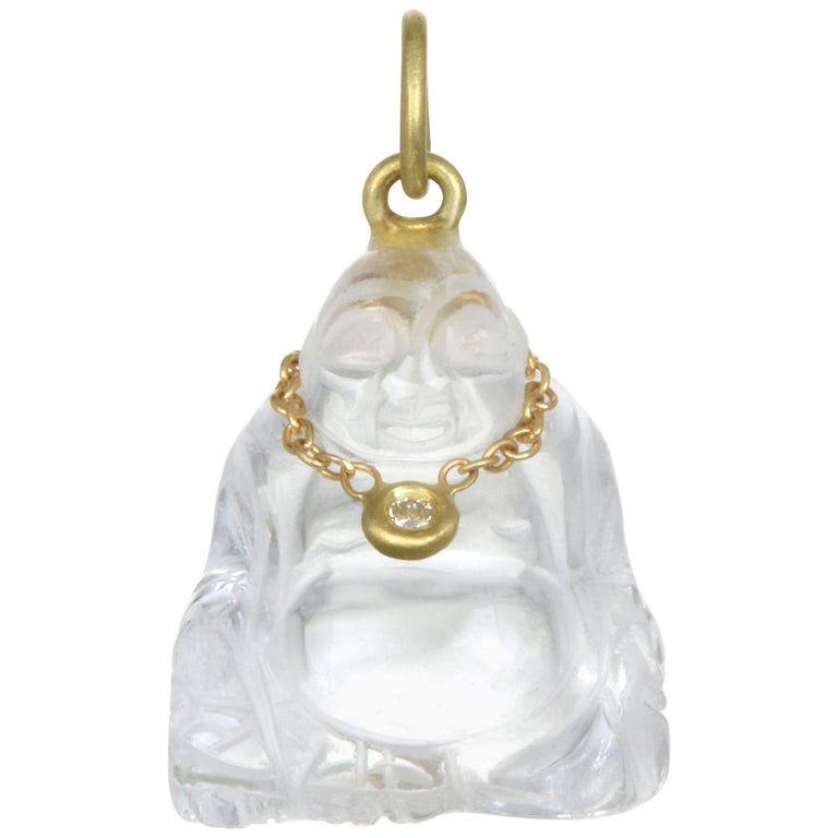 Faye Kim 18K Gold, Diamond and Crystal Buddha Necklace For Sale