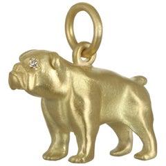 Faye Kim 18k Gold English Bulldog Charm with Diamond Eyes