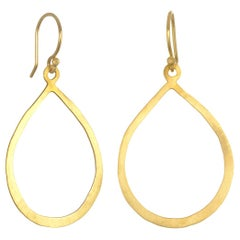 Faye Kim Handmade 18 Karat Gold Planished Teardrop Earrings