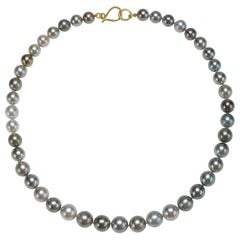 Faye Kim 18k Gold Light Grey Black Tahitian Cultured Pearl Necklace