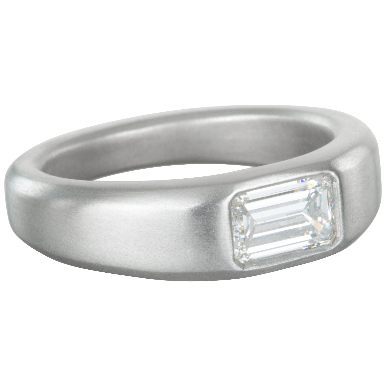 Faye Kim Matte Platinum Emerald Cut Diamond Ring