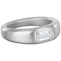 Faye Kim Matte Platinum Emerald Cut Diamond Ring