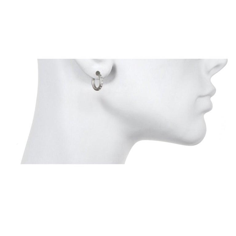 Round Cut Faye Kim Matte Platinum Burnished Diamond Huggy Hoop Earrings For Sale