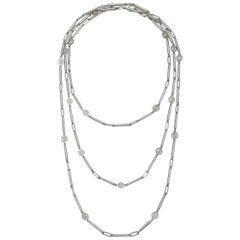 Faye Kim Matte Platinum Handmade Link Chain with Diamonds