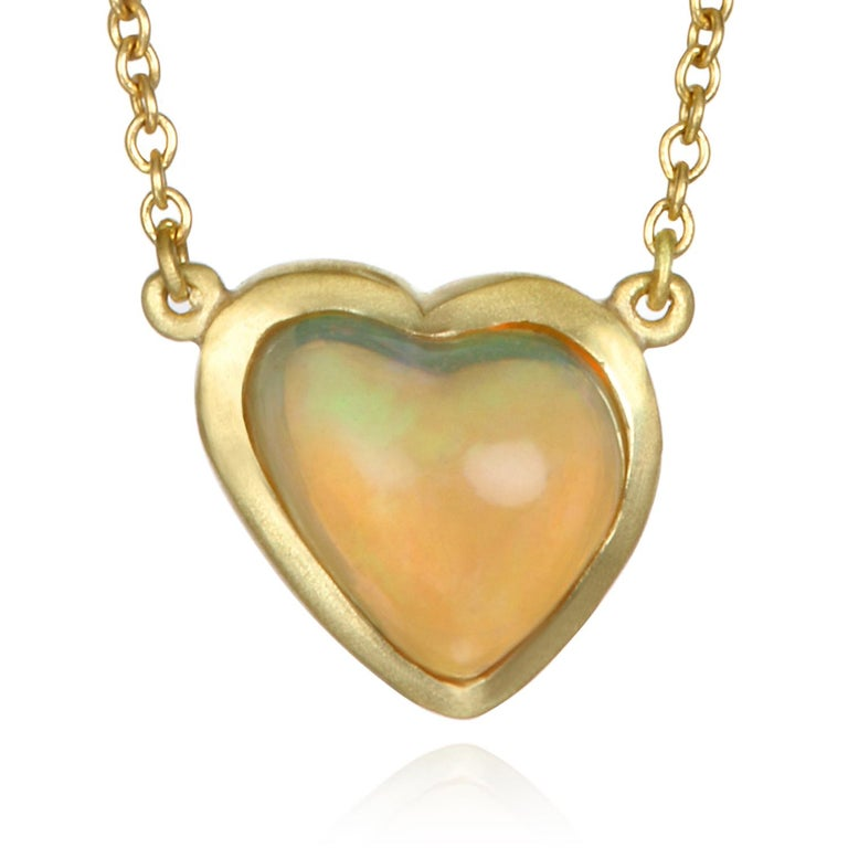 Faye Kim Mexican Opal Gold Necklace In New Condition For Sale In Westport, CT
