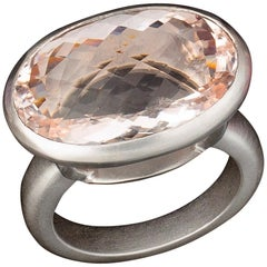 Faye Kim Platinum 13.55 Carat Pink Morganite Cocktail Ring