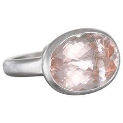 Faye Kim Platinum 13.55 Carat Pink Morganite Cocktail Ring
