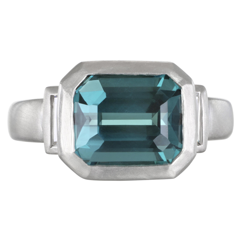 Faye Kim Platinum Blue Green Tourmaline and Diamond Baguette Ring