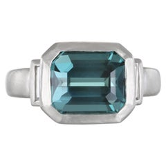 Faye Kim Platinum Blue Green Tourmaline and Diamond Baguette Ring