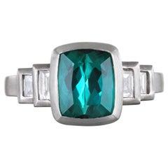 Faye Kim Platinum Blue-Green Tourmaline Ring with Diamond Baguettes