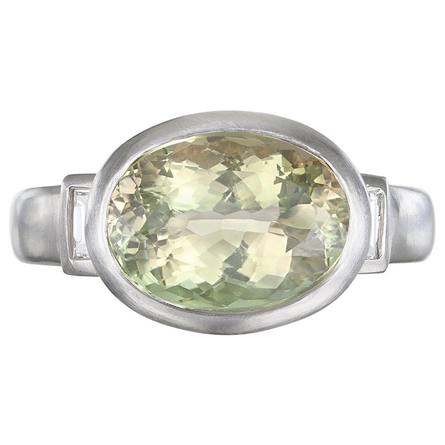 Faye Kim Platinum Celery Tourmaline and Diamond Baguette Ring