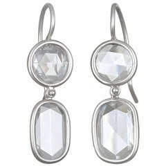 Faye Kim Platinum Diamond Double Drop Earrings