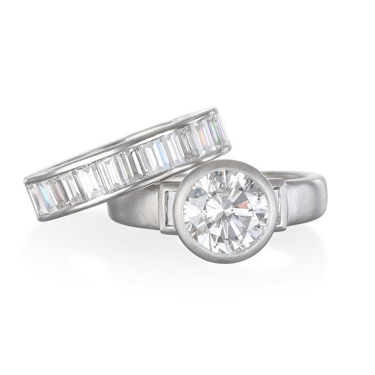 Contemporary Faye Kim Platinum Diamond Engagement Ring For Sale