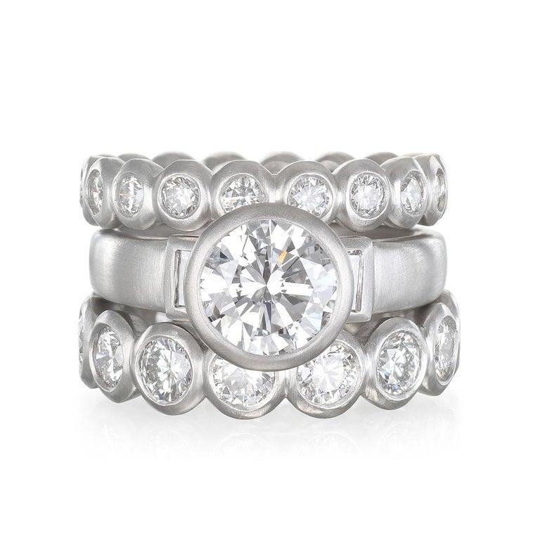 Round Cut Faye Kim Platinum Diamond Engagement Ring For Sale