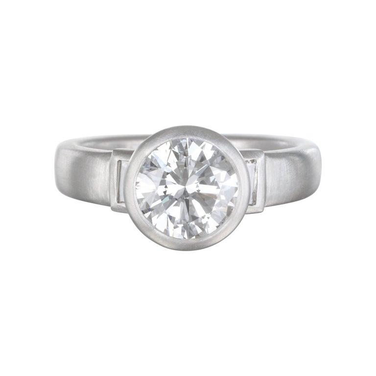 Faye Kim Platinum Diamond Engagement Ring For Sale