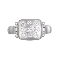 Faye Kim Platinum Diamond Hinged Chiclet Ring