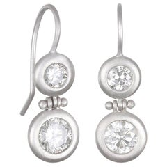 Faye Kim Platinum Double Diamond Hinge Earrings