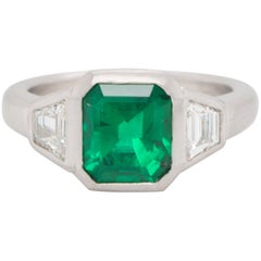 Faye Kim Platinum Emerald and Diamond Ring