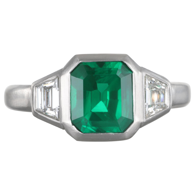 Faye Kim Platinum Emerald and Diamond Ring