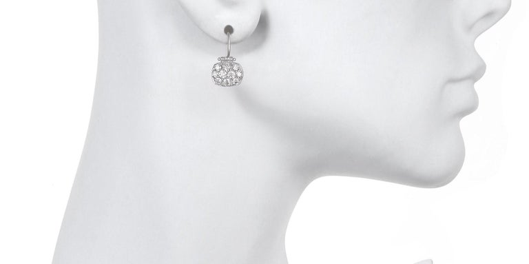 Women's Faye Kim Platinum Micro-Pave Diamond Chiclet Earrings For Sale