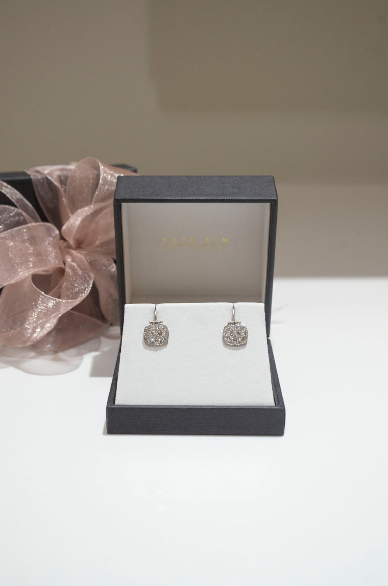 Round Cut Faye Kim Platinum Micro-Pave Diamond Chiclet Earrings For Sale