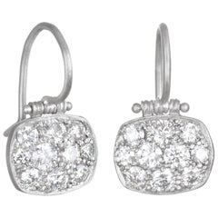 Faye Kim Platinum Micro-Pave Diamond Chiclet Earrings