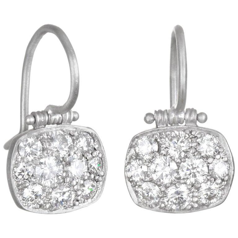 Faye Kim Platinum Micro-Pave Diamond Chiclet Earrings For Sale